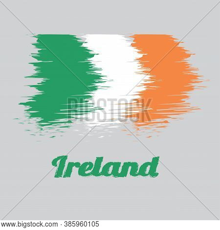 Brush Style Color Flag Of Ireland, A Vertical Tricolor Of Green, White And Orange. With Name Text Ir