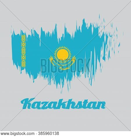 Brush Style Color Flag Of Kazakhstan, A Gold Sun Above Eagle On Blue Field And National Ornamental P
