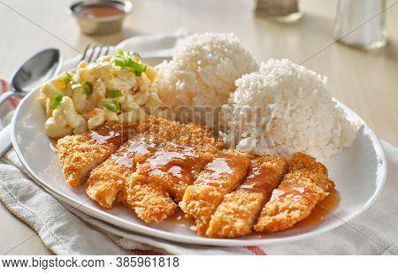 chicken katsu hawaiian bbq plate with gravy and rice