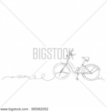 Bicycle. Contour Vector Drawing. One Continuous Line. Infinite Line