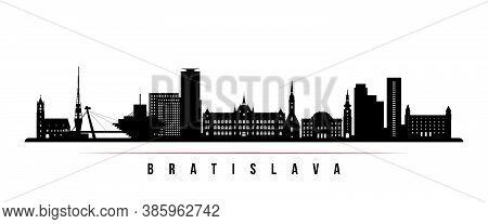 Bratislava Skyline Horizontal Banner. Black And White Silhouette Of Bratislava City, Slovakia. Vecto
