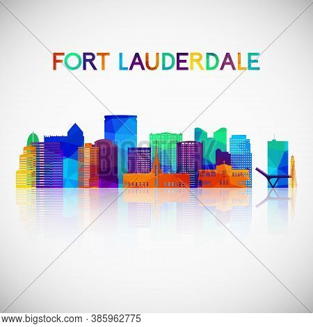 Fort Lauderdale Skyline Silhouette In Colorful Geometric Style. Symbol For Your Design. Vector Illus