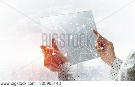 Businesswoman Works With Futuristic Interface. Virtual Geometric Graphics With Plexus Effect And Dig