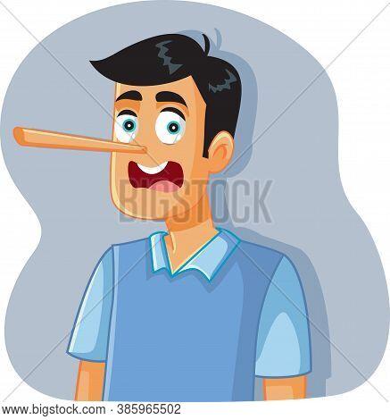 Liar Man With Long Nose Vector Cartoon