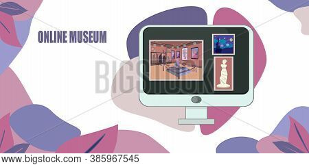 Online Art Gallery Banner.online Exhibition Tours, Internet Technology.visit Museum Online Colorful