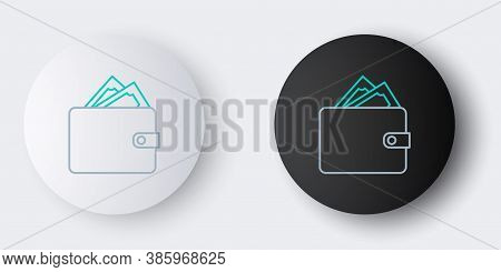 Line Wallet With Stacks Paper Money Cash Icon Isolated On Grey Background. Purse Icon. Cash Savings