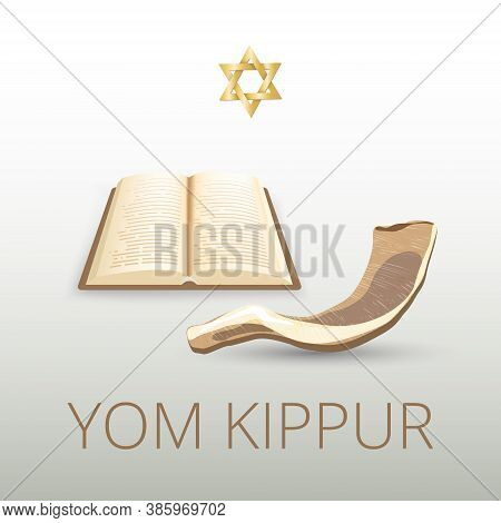 Traditional Jewish Holiday Yom Kippur. Pattern With Shofar. Rosh Hashanah Jewish Holiday Concept. Yo