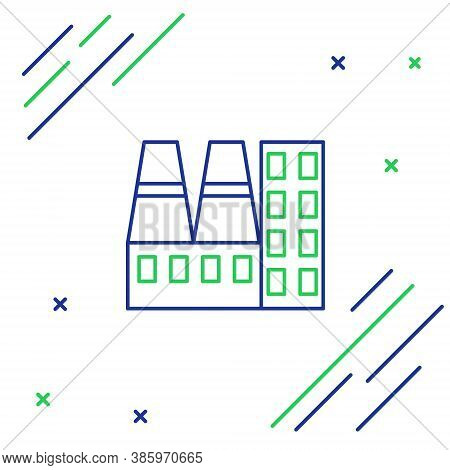 Line Power Station Plant And Factory Icon Isolated On White Background. Energy Industrial Concept. C