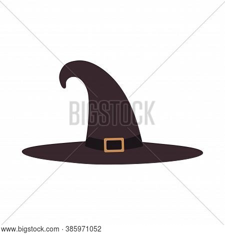 Illustration Of A Tall Witch Hat On A White Background Isolated. Vector Design Element For Heluin Po