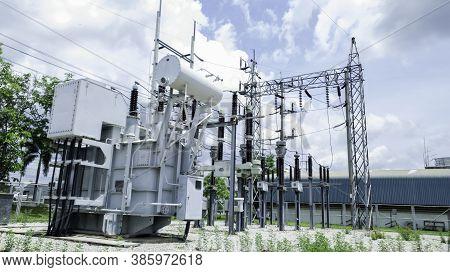 High Voltage Power Transformer Substation, Electricity Substation With Blue Sky Backgound, High Volt