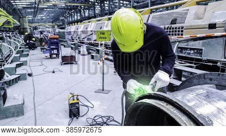 Technician Are Using Gas To Cut Metal Part, Gas Cutting Operation, Worker Work In Construction Site,