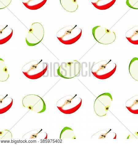 Illustration On Theme Big Colored Seamless Apple, Bright Fruit Pattern For Seal. Fruit Pattern Consi