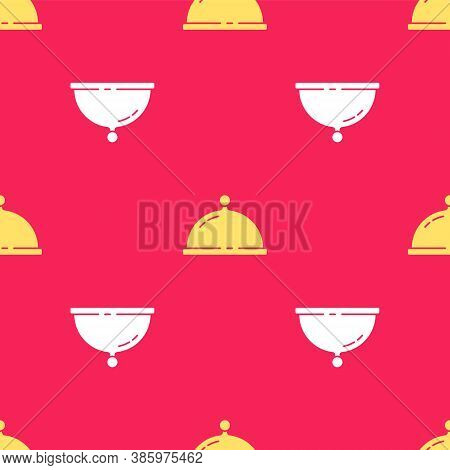 Yellow Covered With A Tray Of Food Icon Isolated Seamless Pattern On Red Background. Tray And Lid. R
