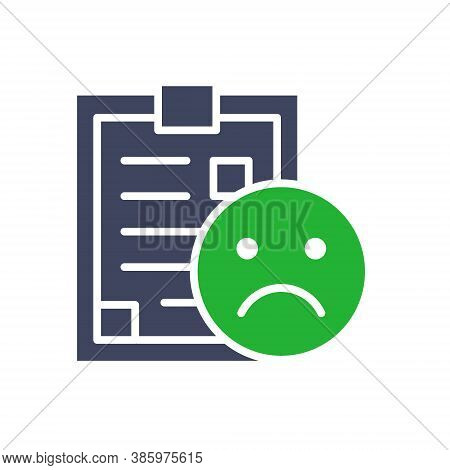 Document With Sad Face Colored Icon. Negative Feedback, Disapprove, Rejection Symbol