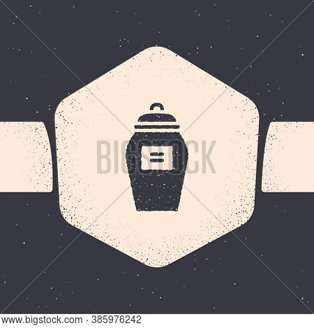 Grunge Funeral Urn Icon Isolated On Grey Background. Cremation And Burial Containers, Columbarium Va