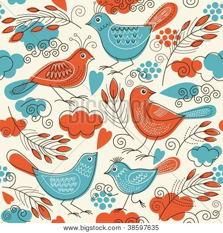 Seamless pattern with birds