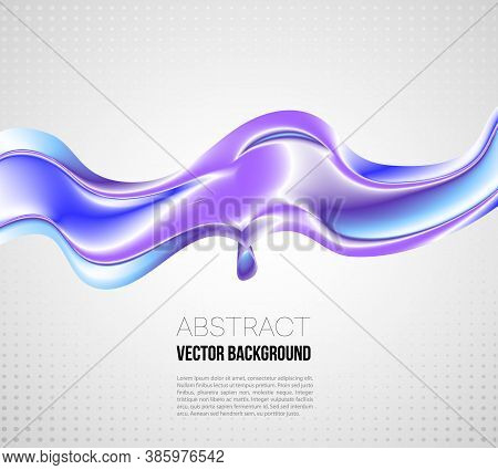 Vector Illustration Modern Abstract Banner Background With 3d Twisted Blue Flow Liquid Shape.