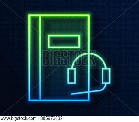Glowing Neon Line Audio Book Icon Isolated On Blue Background. Book With Headphones. Audio Guide Sig