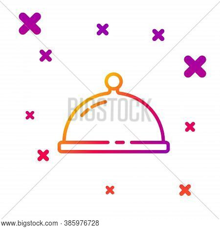 Color Line Covered With A Tray Of Food Icon Isolated On White Background. Tray And Lid. Restaurant C