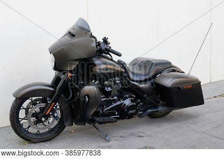 Bordeaux , Aquitaine / France - 09 15 2020 : Harley Davidson Electra Road Glide Motorbike With Logo