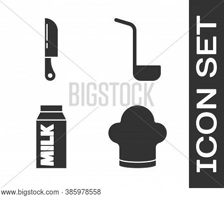 Set Chef Hat, Knife, Paper Package For Milk And Kitchen Ladle Icon. Vector