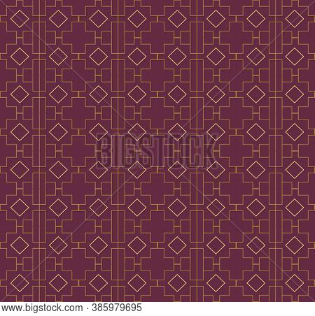 Red And Yellow Geometric Seamless Background. Checkered And Diamond Pattern. Template For Fabrics Fo