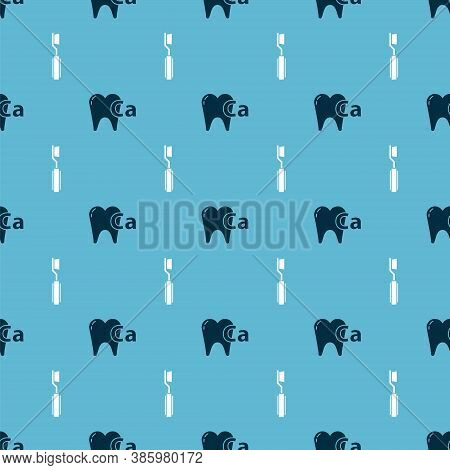 Set Calcium For Tooth And Toothbrush On Seamless Pattern. Vector