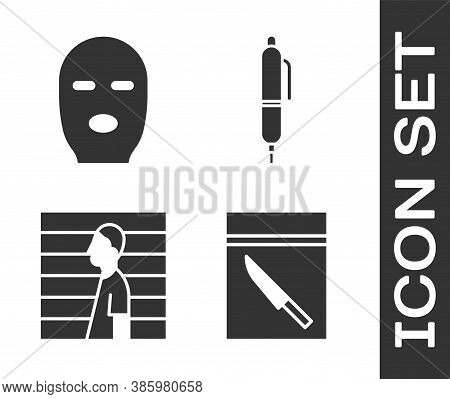 Set Evidence Bag And Knife, Thief Mask, Suspect Criminal And Pen Icon. Vector