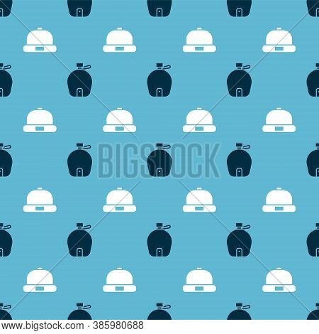 Set Canteen Water Bottle And Beanie Hat On Seamless Pattern. Vector