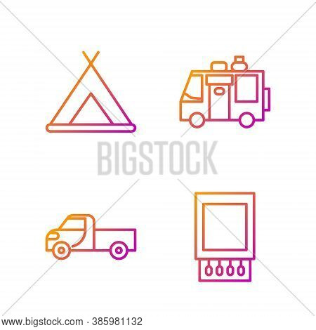 Set Line Open Matchbox And Matches, Pickup Truck, Tourist Tent And Rv Camping Trailer. Gradient Colo