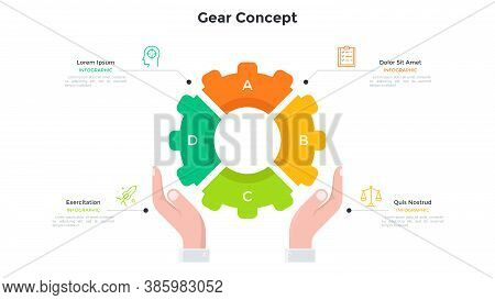 Hands Holding Gear Wheel Pie Chart Divided Into 4 Colorful Parts. Concept Of Four Features Of Techno