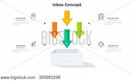 Four Colorful Downwards Pointing Arrows And Box. Concept Of 4 Features Of Inbox Or Incoming Mail. Si