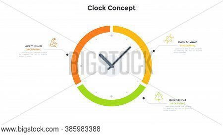 Clock Face Diagram Divided Into 3 Parts. Concept Of Three Features Of Time Organization, Effective B
