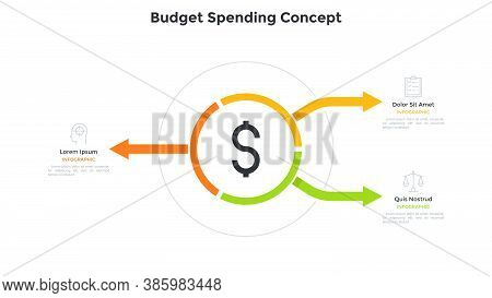Circular Diagram With Dollar Sign In Center And Three Arrows. Concept Of 3 Options For Money Budget