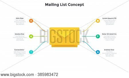 Six Round Elements Connected To Envelope. Concept Of Mailing List, Letter To Send, 6 Features Of Pos