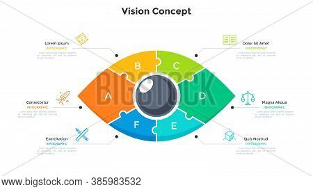 Eye Divided Into 6 Colorful Jigsaw Puzzle Pieces. Concept Of Six Features Of Creative Business Visio