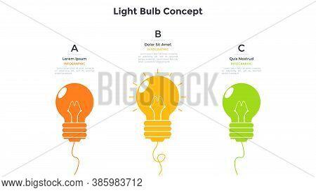 Three Colorful Light Bulbs. Concept Of 3 Steps Of Innovative Technology Development, Creative Idea G