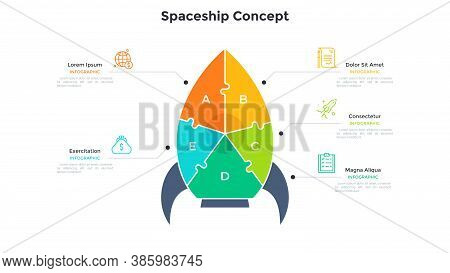 Space Rocket Or Spaceship Chart Divided Into 5 Colorful Pieces. Concept Of Five Features Of Business