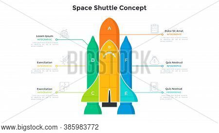 Space Shuttle Or Spaceship Diagram Divided Into 6 Colorful Parts. Concept Of Six Features Of Startup