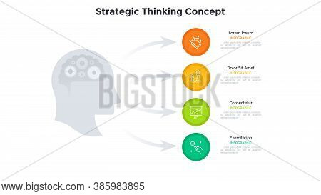 Head With Gear Wheels Inside And Arrows Pointing At Four Circular Elements. Concept Of 4 Stages Of S