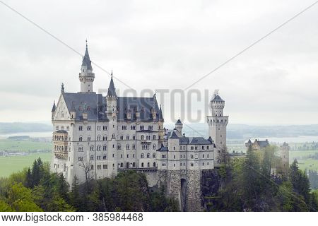 Neuschwanstein Castle, Germany - Apr 28, 2014: The Neuschwanstein Castle In Bavaria, Germany Is A 19