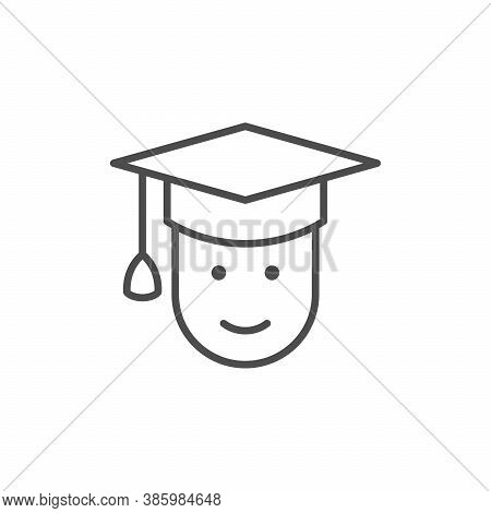 Graduate Line Outline Icon Or Graduation Sign Isolated On White. Vector Illustration