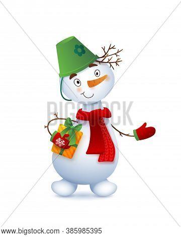 Vector Cute Snowman. Christmas Illustration With Funny Snowman. Christmas Gift In The Hands Of A Sno