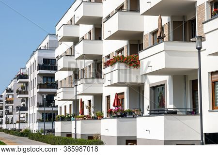 Modern Apartment Buildings With Many Balconies Seen In Berlin