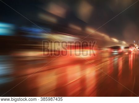 High-speed Movement On The Night Road Photo