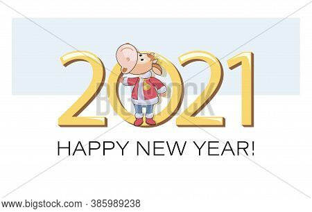 2021 Year Bull. Calf. Cute Animal Character On A Background Of Large Numbers. Little Calf Dressed As
