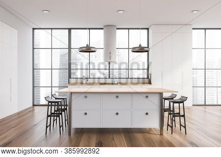 White Bar With Stools Standing In Modern Kitchen With White Walls And Wooden Floor. 3d Rendering