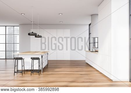White Bar With Stools Standing In Modern Kitchen With White Walls And Wooden Floor. Side View 3d Ren