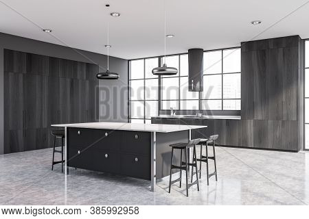 Gray Bar With Stools Standing In Stylish Kitchen Corner With Gray Walls And Concrete Floor. 3d Rende