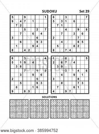 Four Sudoku Puzzles Of Medium Level, Answers Included. Set 29.